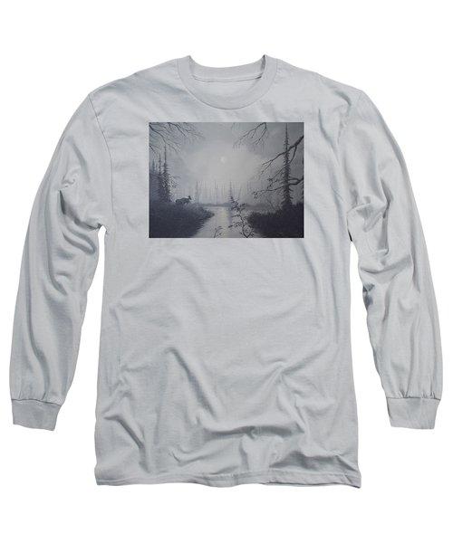 Moose Swanson River Alaska Long Sleeve T-Shirt by Richard Faulkner