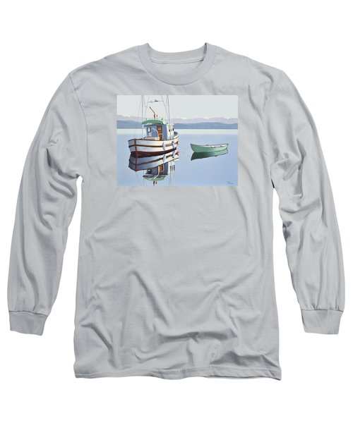 Long Sleeve T-Shirt featuring the painting Morning Calm-fishing Boat With Skiff by Gary Giacomelli