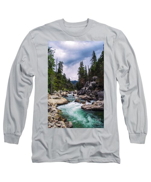 Mountain Emerald River Photography Print Long Sleeve T-Shirt by Jerry Cowart