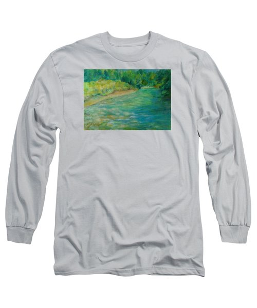 Mountain River In Oregon Colorful Original Oil Painting Long Sleeve T-Shirt by Elizabeth Sawyer