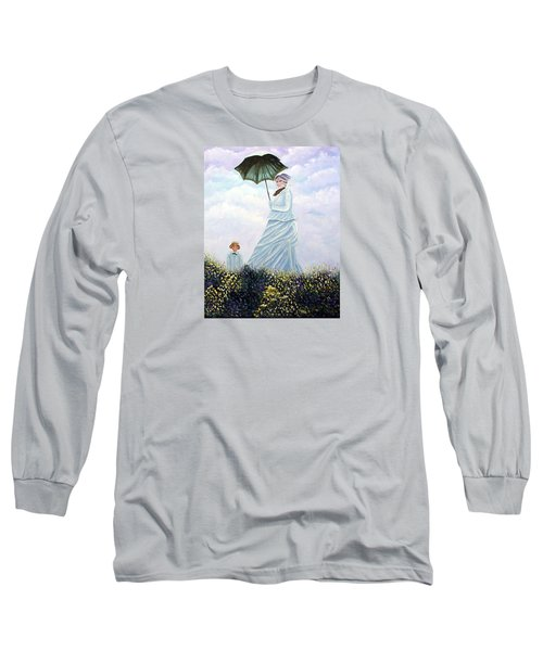 Long Sleeve T-Shirt featuring the painting Mrs. Monet And Son by Fran Brooks