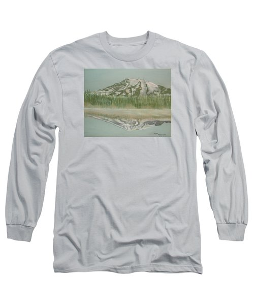 Long Sleeve T-Shirt featuring the pastel Mt Rainier by Terry Frederick