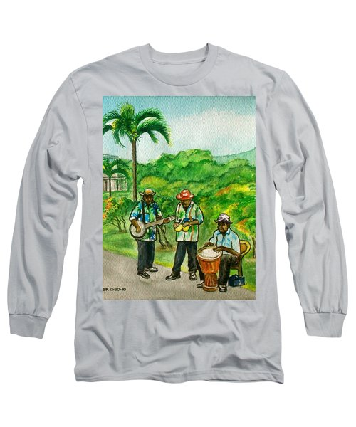 Musicians On Island Of Grenada Long Sleeve T-Shirt by Frank Hunter
