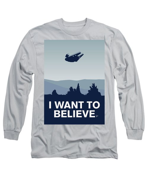 My I Want To Believe Minimal Poster-millennium Falcon Long Sleeve T-Shirt
