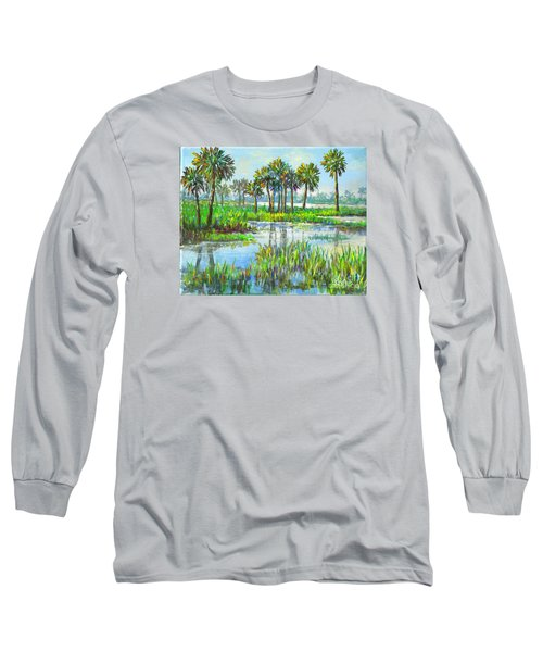 Long Sleeve T-Shirt featuring the painting Myakka Lake With Palms by Lou Ann Bagnall
