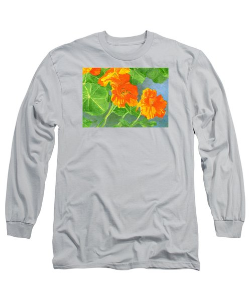 Nasturtiums Flowers Garden Small Oil Painting Long Sleeve T-Shirt by Elizabeth Sawyer