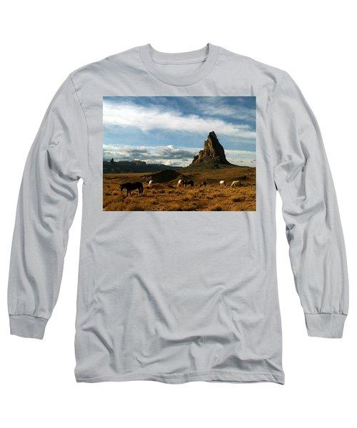Navajo Horses At El Capitan Long Sleeve T-Shirt by Jeff Brunton