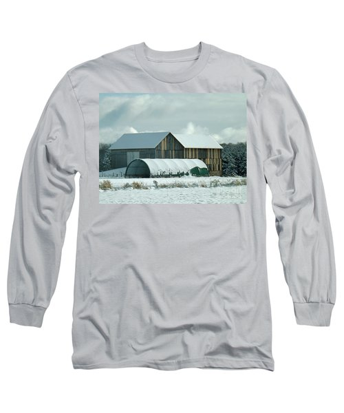 Long Sleeve T-Shirt featuring the photograph New And Old Barn Planks by Brenda Brown