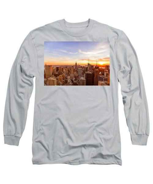 New York City - Sunset Skyline Long Sleeve T-Shirt by Vivienne Gucwa
