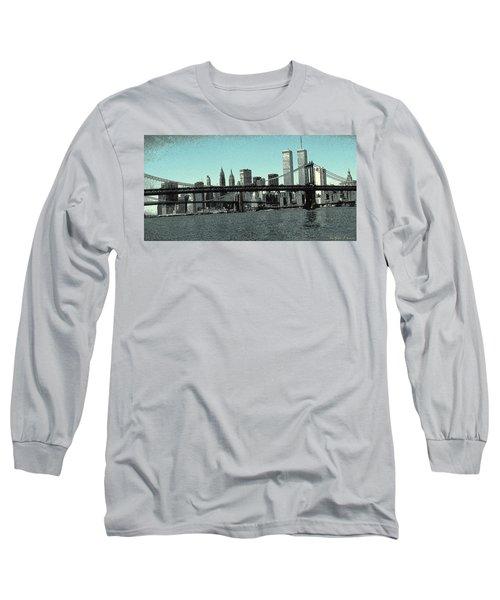 New York Downtown Manhattan Skyline - Blue Panorama Long Sleeve T-Shirt