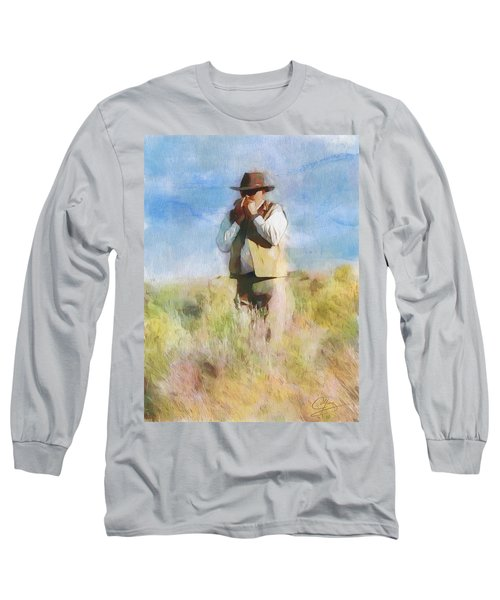 Long Sleeve T-Shirt featuring the painting No Useless Cares by Greg Collins
