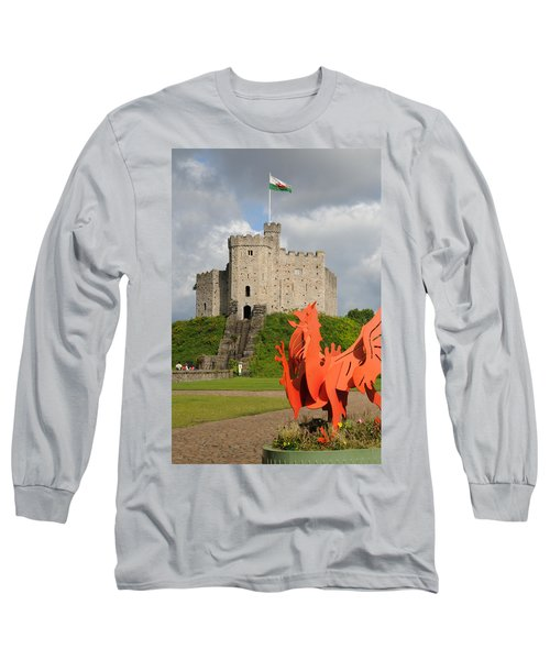 Norman Keep Cardiff Castle Long Sleeve T-Shirt by Jeremy Voisey