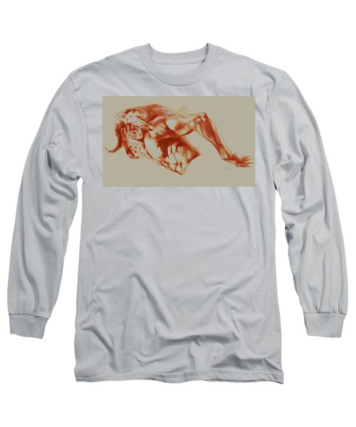 North American Minotaur Red Sketch Long Sleeve T-Shirt by Derrick Higgins