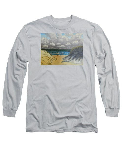 Long Sleeve T-Shirt featuring the painting North Windang Beach by Pamela  Meredith