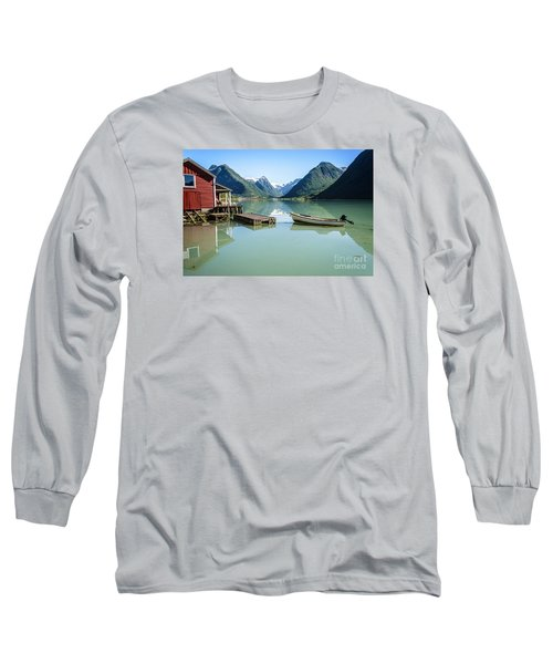 Reflection Of A Boat And A Boathouse In A Fjord In Norway Long Sleeve T-Shirt by IPics Photography