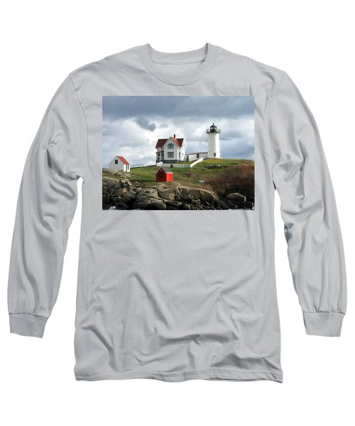Nubble Lighthouse Long Sleeve T-Shirt by Nancy Landry