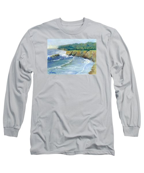 Ocean Surf Colorful Original Seascape Painting Long Sleeve T-Shirt by Elizabeth Sawyer