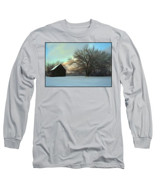 Old Barn In Snow Long Sleeve T-Shirt