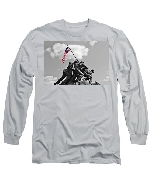 Long Sleeve T-Shirt featuring the photograph Old Glory At Iwo Jima by Jean Goodwin Brooks