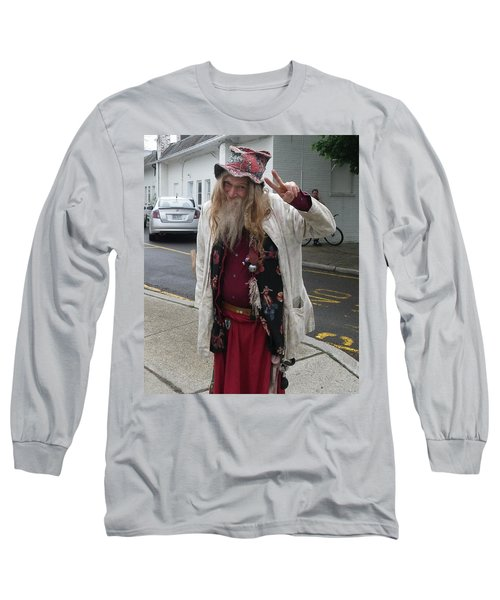 Long Sleeve T-Shirt featuring the photograph Old Hippie In Woodstock Ny  by Anna Ruzsan