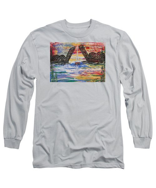 On The Hour. The Sailboat And The Steel Bridge Long Sleeve T-Shirt by Andrew J Andropolis