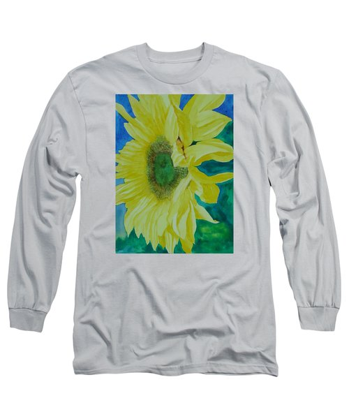 One Bright Sunflower Colorful Original Art Floral Flowers Artist K. Joann Russell Decor Art  Long Sleeve T-Shirt