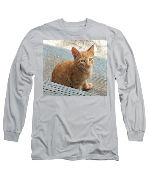 Orange Kitten 2 At The Front Porch Long Sleeve T-Shirt