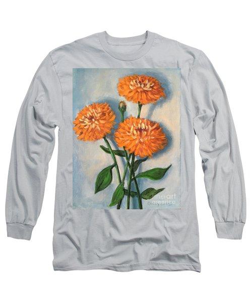 Long Sleeve T-Shirt featuring the painting Orange Zinnias by Randol Burns