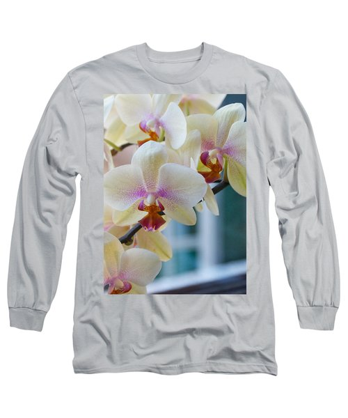 Orchids In The Morning Light Long Sleeve T-Shirt by Debbie Karnes