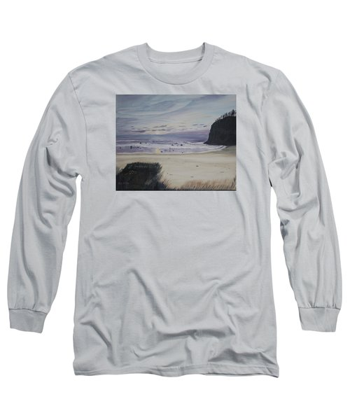 Long Sleeve T-Shirt featuring the painting Oregon Coast by Ian Donley