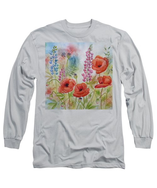 Oriental Poppies Meadow Long Sleeve T-Shirt by Carla Parris
