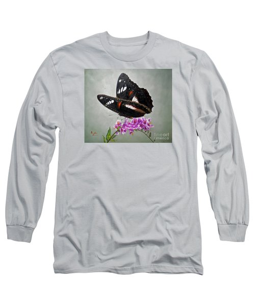 Original Animal Oil Painting Art-the Butterfly#16-2-1-09 Long Sleeve T-Shirt by Hongtao     Huang