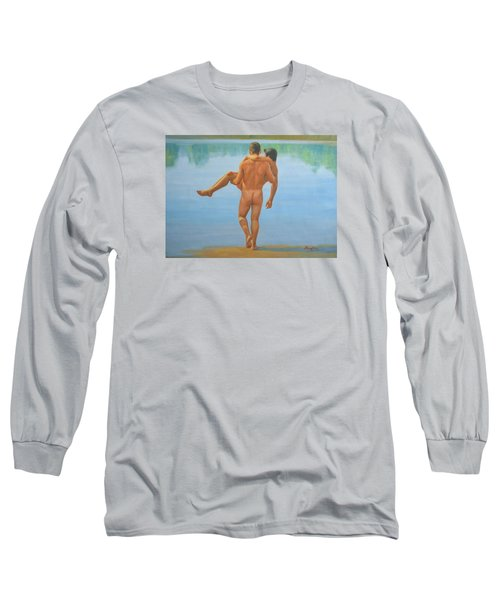 Original Oil Painting Man Body Art -male Nude By The Pool -073 Long Sleeve T-Shirt by Hongtao     Huang