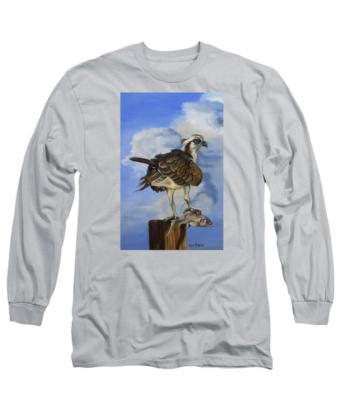 Long Sleeve T-Shirt featuring the painting Osprey And A Mullet by Phyllis Beiser
