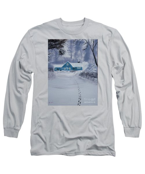 Long Sleeve T-Shirt featuring the painting Our Little Cabin In The Snow by Ian Donley