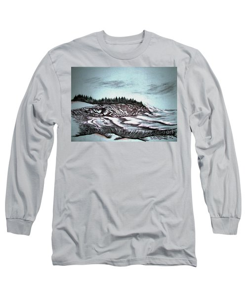 Long Sleeve T-Shirt featuring the drawing Oven's Park Nova Scotia by Janice Rae Pariza