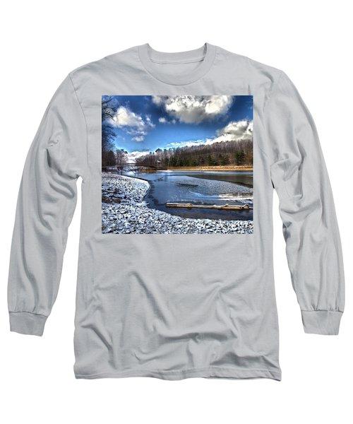 Long Sleeve T-Shirt featuring the photograph Over Da River N Thru Da Woods by Robert McCubbin