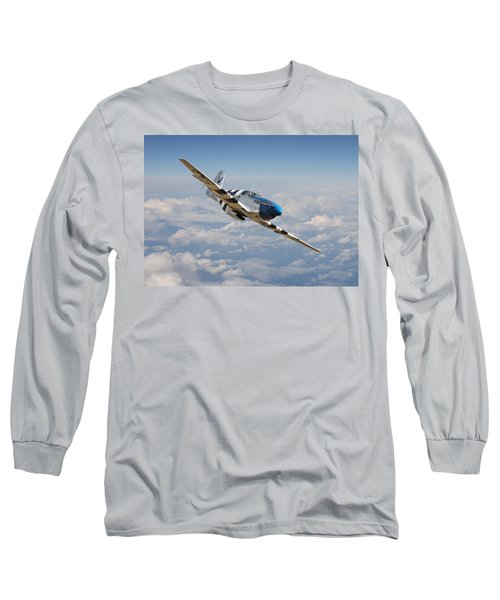 P51 Mustang - Symphony In Blue Long Sleeve T-Shirt