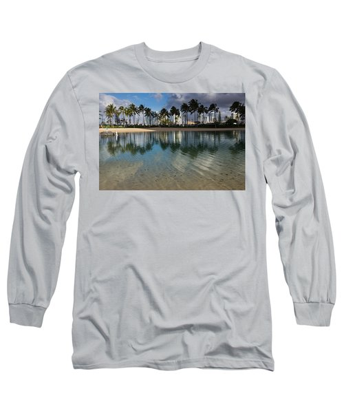 Palm Trees Crystal Clear Lagoon Water And Tropical Fish Long Sleeve T-Shirt