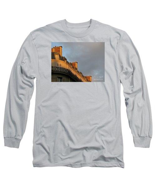 Paris At Sunset Long Sleeve T-Shirt by Ann Horn