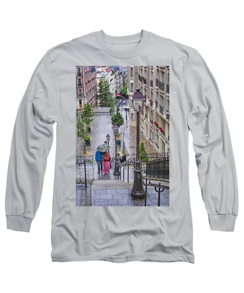 Paris Sous La Pluie Long Sleeve T-Shirt by Nikolyn McDonald