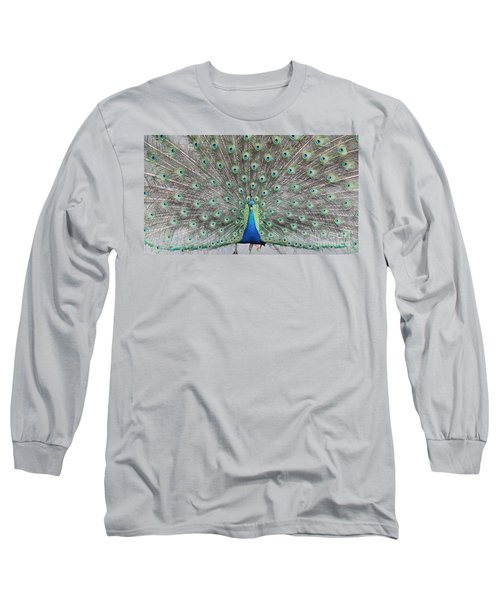 Long Sleeve T-Shirt featuring the photograph Peacock by John Telfer