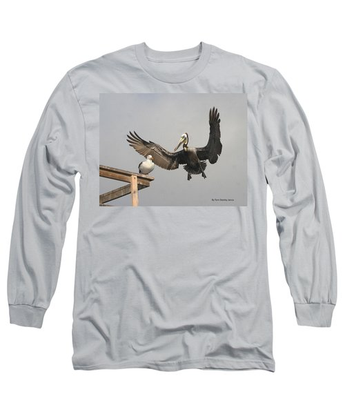 Pelican Wins Sea Gull Looses Long Sleeve T-Shirt by Tom Janca