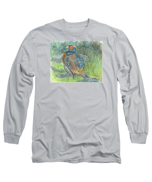 Long Sleeve T-Shirt featuring the drawing Pheasant Common Male by Carol Wisniewski