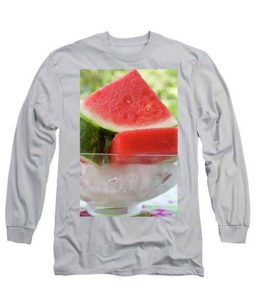 Pieces Of Watermelon In A Bowl Of Ice Cubes Long Sleeve T-Shirt