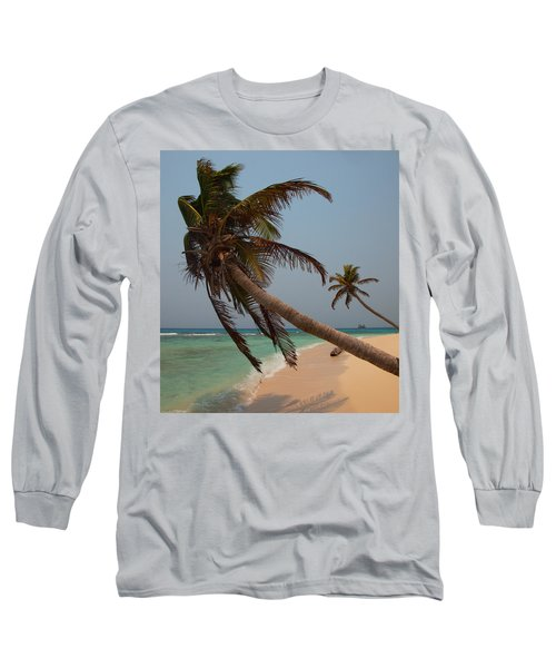 Pigeon Cays Palm Trees Long Sleeve T-Shirt by Susan Rovira