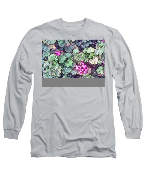 Pink Flowers Painting Long Sleeve T-Shirt