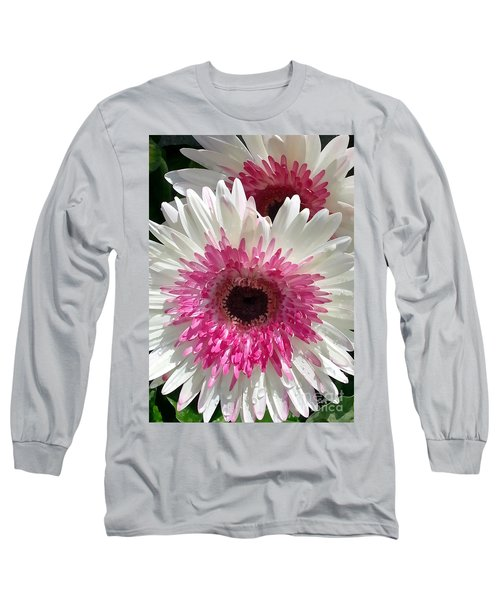 Pink N White Gerber Daisy Long Sleeve T-Shirt by Sami Martin