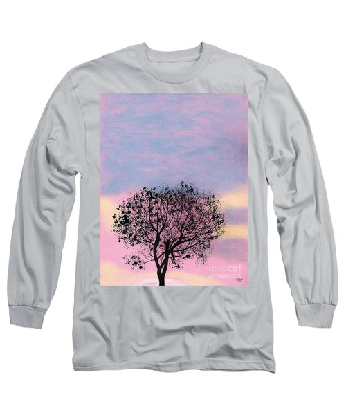 Long Sleeve T-Shirt featuring the drawing Pink Sunset by D Hackett