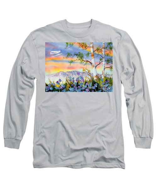 Long Sleeve T-Shirt featuring the painting Piper Cub Over Sleeping Lady by Teresa Ascone